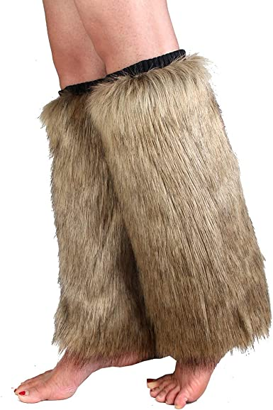 Pair of Faux Fur Leg Warmers Costume Accessory Adult Women