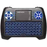 (2020 Latest, Backlit) ANEWISH 2.4GHz Mini Wireless Keyboard with Touchpad Mouse Combo, Rechargable Li-ion Battery…