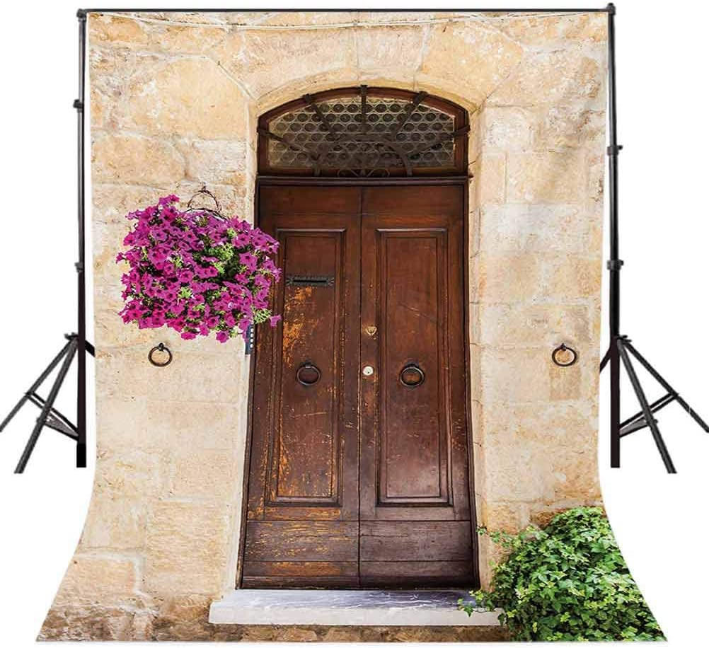 Italian 6.5x10 FT Backdrop Photographers,Rusty Wood Door with Flowers in Italian Town Authentic Nostalgic Building Background for Photography Kids Adult Photo Booth Video Shoot Vinyl Studio Props