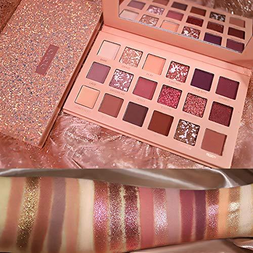 Waterproof Eyeshadow Palette, NOVO 18 Colors Lasting Eye Shadows Matte/Pearlescent Shimmer Neutral Smoky Cosmetic Eye Shadows Makeup (Red Purple Smoke)