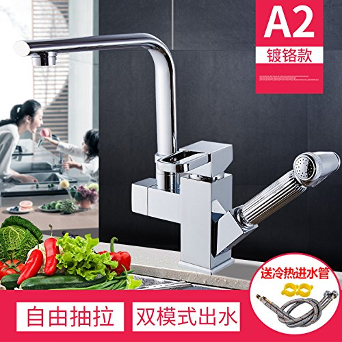 A1 [Chrome]). NewBorn Faucet Kitchen Or Bathroom Sink Mixer Tap Pull The Tap Full Copper 000 To Turn The Telescopic Dish Washing Basin Washing Dishes Pool Brushed Sink Mixer A3, Plus High-Nickel Brushed