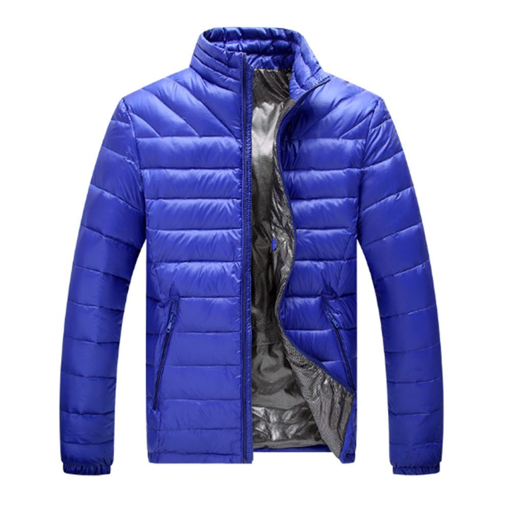 Meijunter Winter Men Stand Collar Lightweight Duck Down Jacket Comfort Warm Coat Outwear