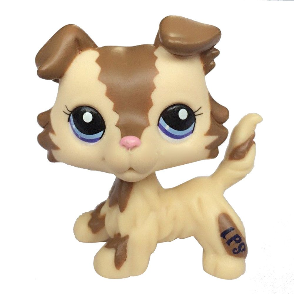 Pet Shop LPS Pet Collie Dog Child Girl Figure Toy Loose Cute lps #2210 Brown and Caramel Collie Dog crossed3_Pet toy store