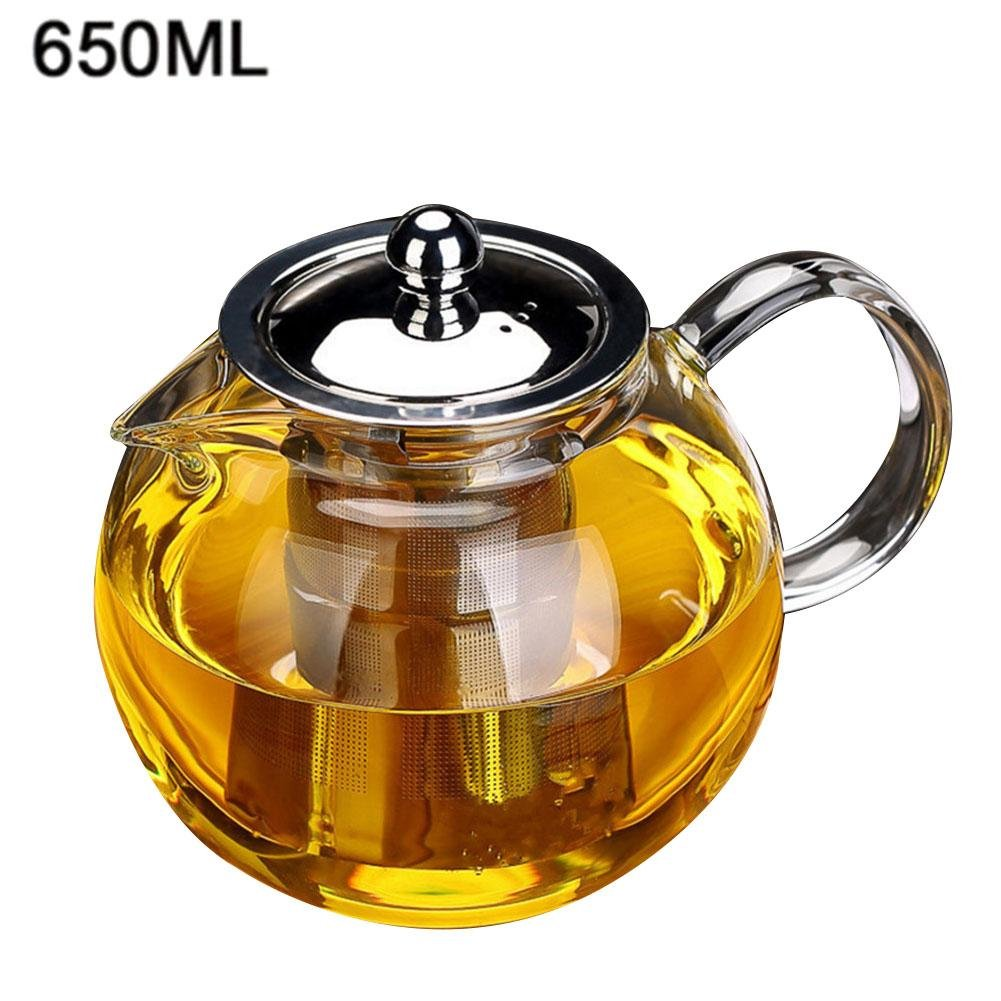 Big-time Glass Teapot with Infuser,Heat Resistant Induction Cooker Glass Teapot Boil Teapots Tea Maker for Blooming and Loose Leaf (650/960/1300ml)