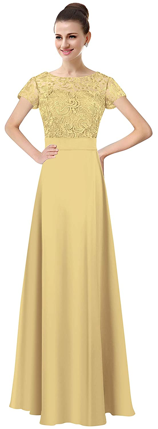 gold Lily Anny Womens Long Lace Bridesmaid Dresses Prom Gown with Short Sleeves L061LF