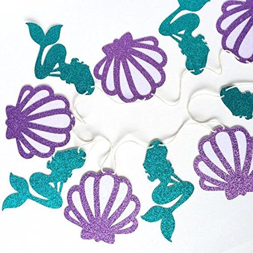 Mermaid Theme Garland Mermaid Seashell Party Banner, Party Supplies for Kid Birthday Party Decoration - 11Pcs