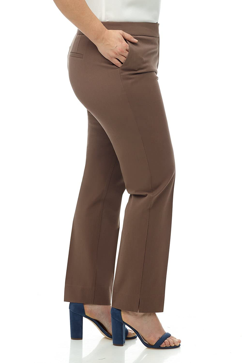 Rekucci Curvy Woman Plus Size Easy Chic Zip Front Pant in 4-Way Stretch Cotton