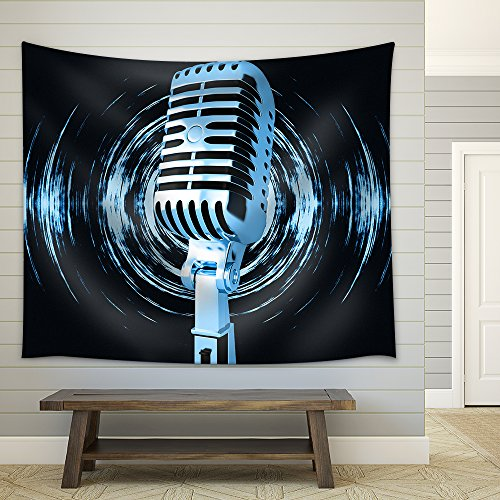 Vintage Microphone on The Abstract Background Fabric Wall