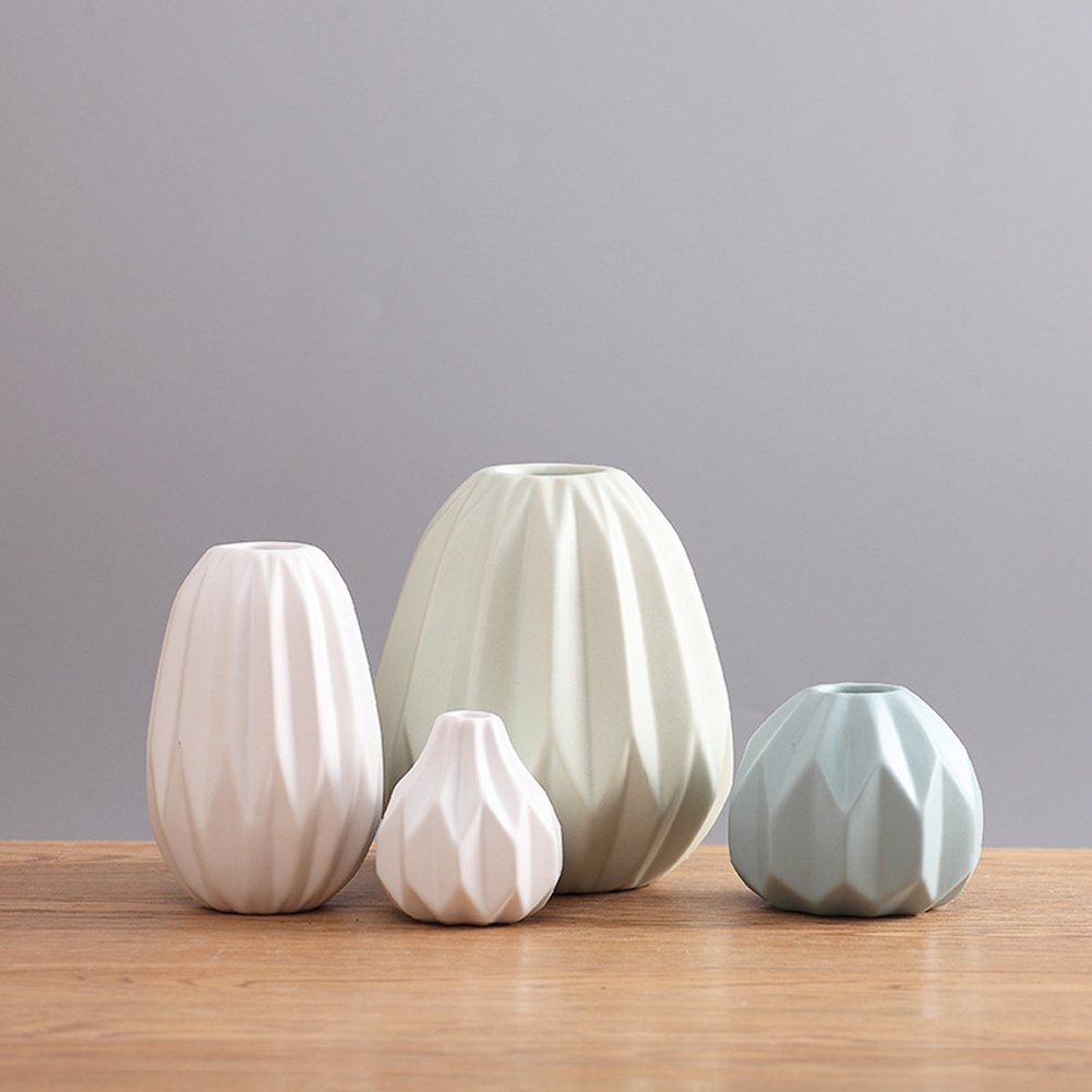 JIAAE Nordischen Stil Kreative Keramik Vase Moderne Minimalistische Bunte Keramik Dekorationen Home Wohnzimmer Origami Ornamente (4Er Set)