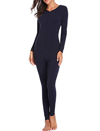 Lusofie Womens Cotton Thermals Adult Onesie Henley Thermal Underwear Union  Suit (Navy Blue 87ca6885a