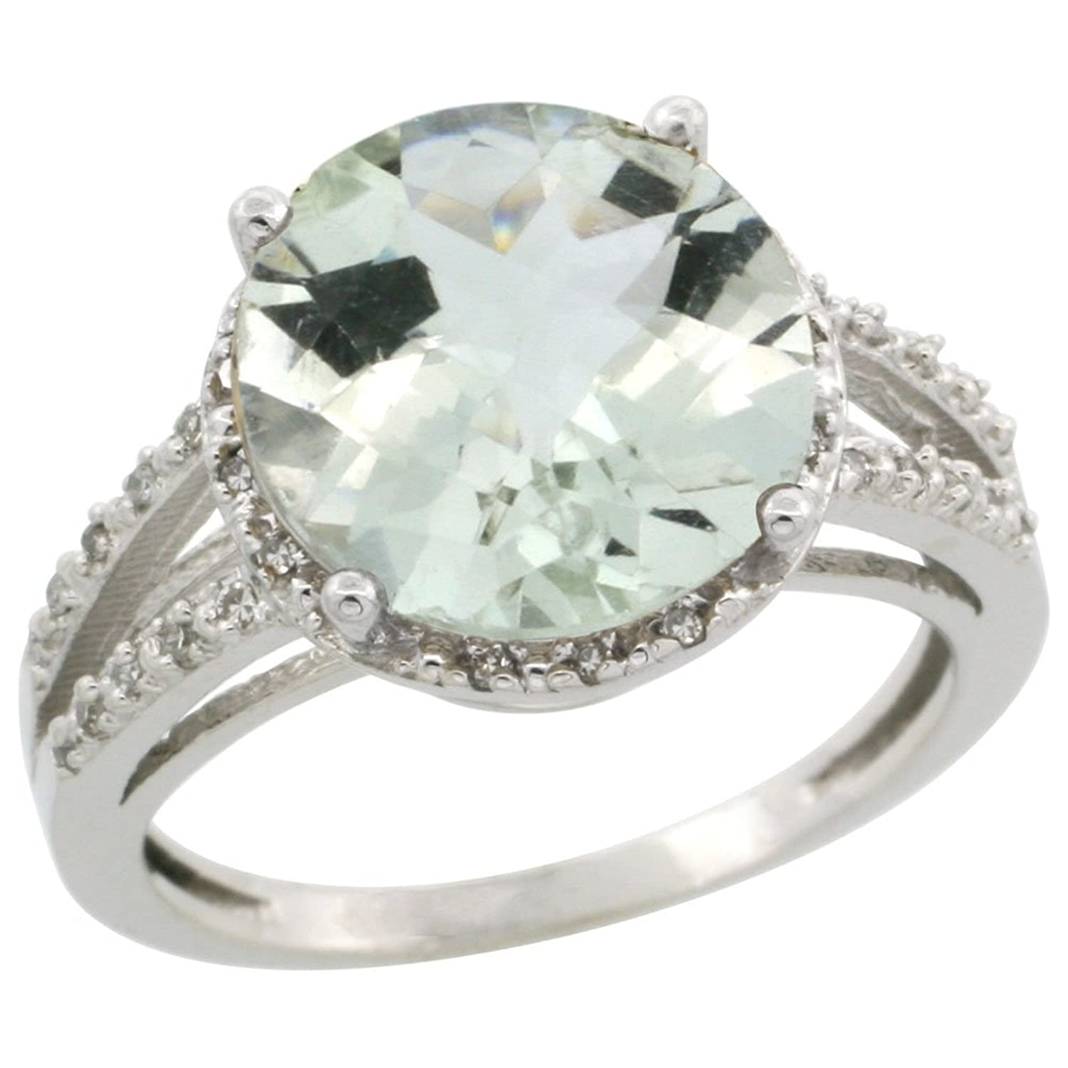 10K White Gold Diamond Natural Green Amethyst Ring Round 11mm, sizes 5-10
