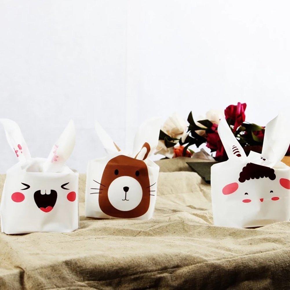 jhtceu postres y Galletas 20 Unidades de Bonitos dise/ños de Orejas de Conejo Bolsa de decoraci/ón Caramelos