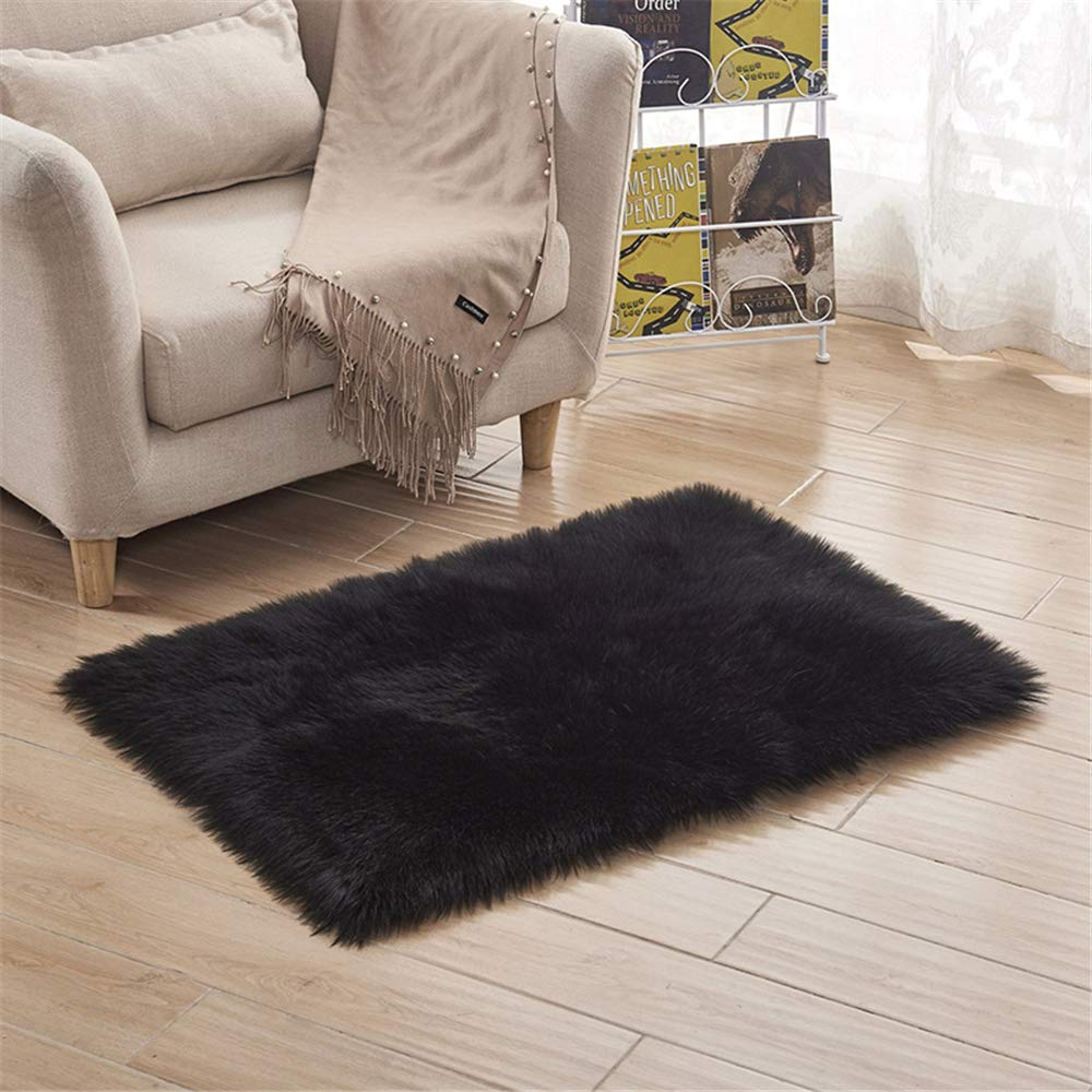 Janeaa 2019 Sofa Cushion Baby Playing Cold Anti-Slip Long Wool Carpet Black 6060 by Janeaa