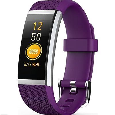 XH-Fitness Tracker Montres Cardiofréquencemètre Bracelet intelligent Bluetooth Pédomètre pour Android iPhone(violet)