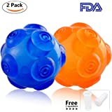 PerSuper 3.6-Inch Durable Rubber Dog Toy Chew toys Ball Interactive Squeak Training Playing Pet Toy Balls - Blue and Orange for Small,Medium and Large Dogs