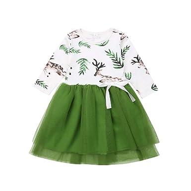 AIKSSOO Vestido de Manga Larga Tutú Verde Falda de Tul Princesa ...