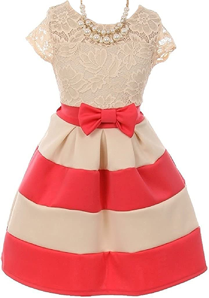 c5b2da7f34cf Available in sizes 2-14, Necklace is around 16 inches long included. Round  Neck Big Bow Lace Dress. A Size 6 is for the Average 5 to 6 year old girl.