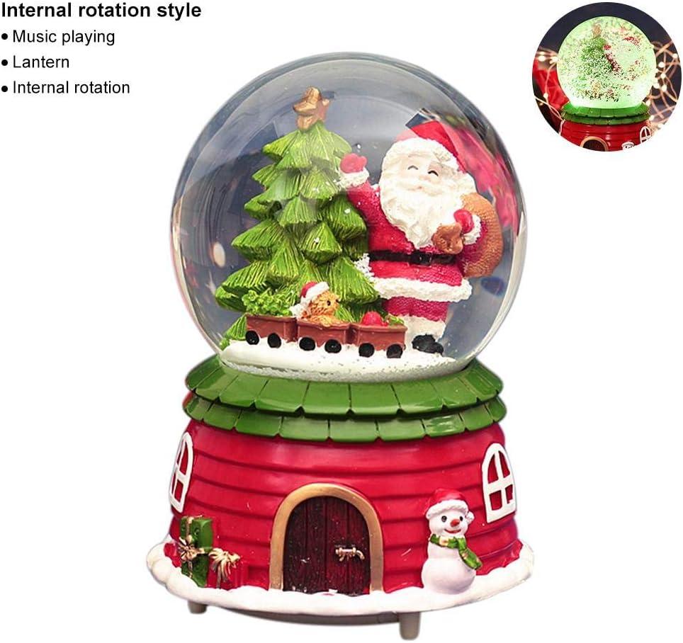 Dream-cool Caja de música de Santa Bola de Nieve Caja de música de Navidad Hecha a Mano, Bola de Agua Musical navideña de Globo de Nieve con decoración de reproducción de música