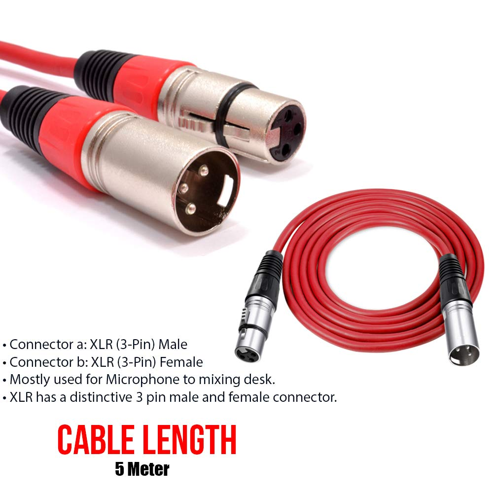 1M//2M//3M//5M Microphone Mic Lead 3 Pin Male to Female Plugs XLR Patch Audio Cable