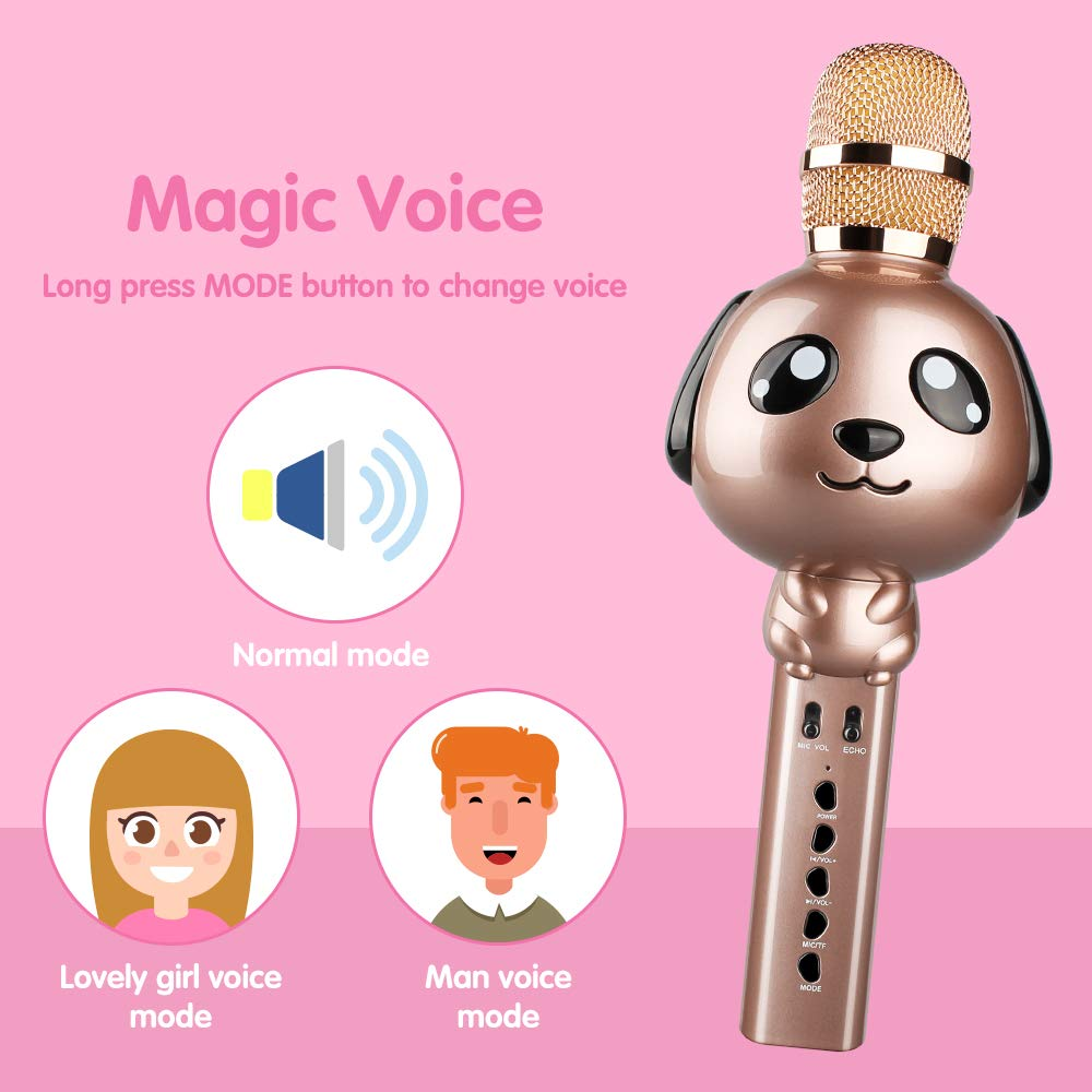 Leeron Karaoke Microphone, Kids Microphones Portable Handheld Wireless Bluetooth Karaoke Mic Machine for Home, Party, Birthday Gifts and Kids Girls Toys Age 5 6 7 8 9 by Leeron (Image #6)