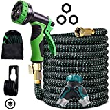 Expandable Garden Hose 100 Feet Upgraded Strength 3750D Expanding Lightweight Water Hoses Triple Layers Latex Core 9 Pattern Spray Nozzle Extra Solid 3/4 Brass Connectors 2 Way Splitter (100)