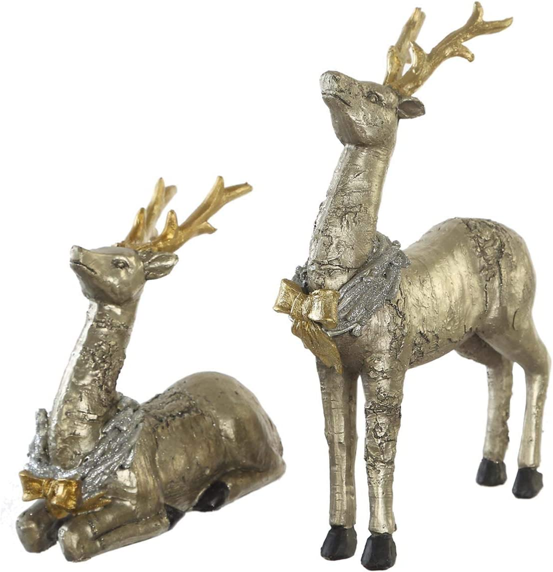 Holiday Glitter Reindeer Standing Table Decor Home Decoration Reindeer Figurines Standing Figurines Indoor Decorative Craft Ornaments Sculptures Deer,2 PCS