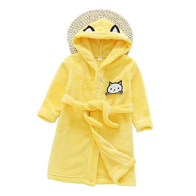 JZLPIN Unisexo Niños pequeños Niños Encapuchado Bata de Baño Franela Pijama Linda Gato Ropa de Dormir: Amazon.es: Ropa y accesorios
