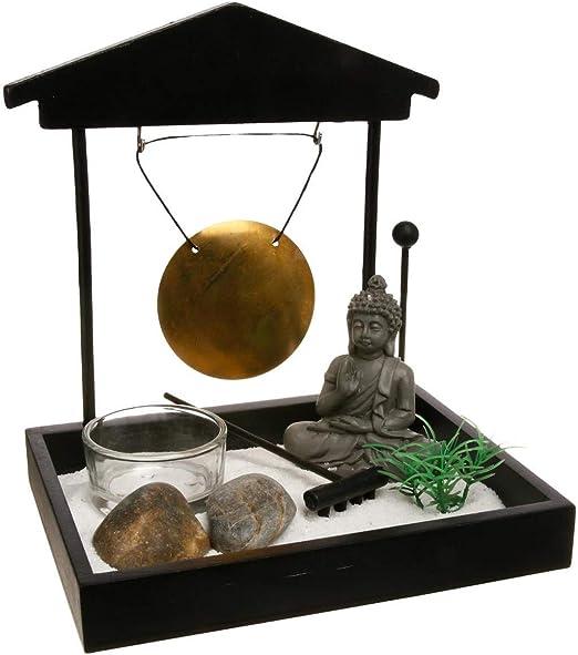 Jardín Zen - Buda con Gong en bandeja negra: Amazon.es: Hogar