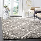 Safavieh Hudson Shag Collection SGH281B Grey and Ivory Area Rug, 6 feet by 9 feet (6' x 9')