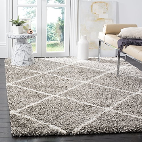 Safavieh Hudson Shag Collection SGH281B Grey and Ivory Moroccan Diamond Trellis Area Rug (9' x 12') ()