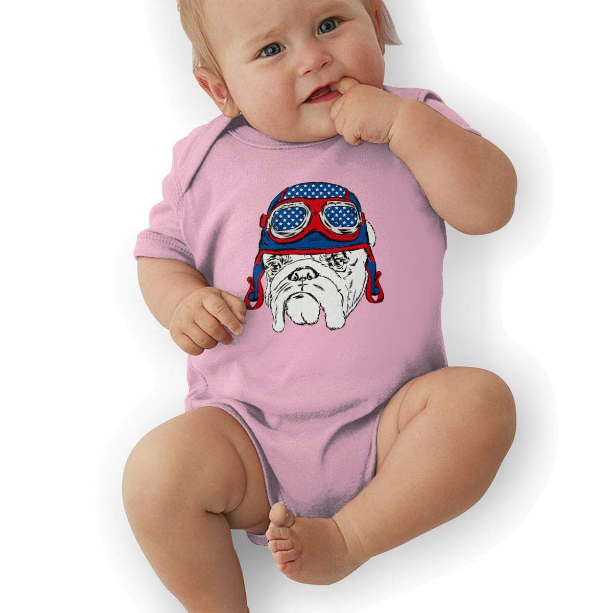 French Bulldog Pilot Baby Rompers One Piece Jumpsuits Summer Outfits Clothes Pink