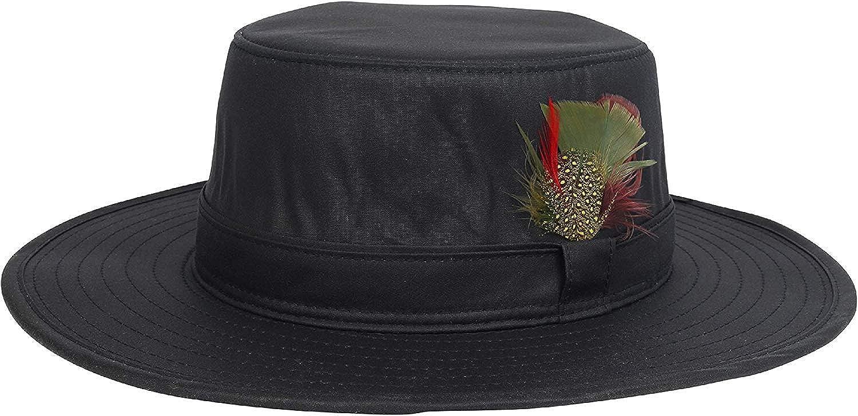 Nicky Adams Cera Bushman Australiano Sombrero con Plumas Impermeable Hecho en GB Tipo Fedora Borde Ancho Nuevo