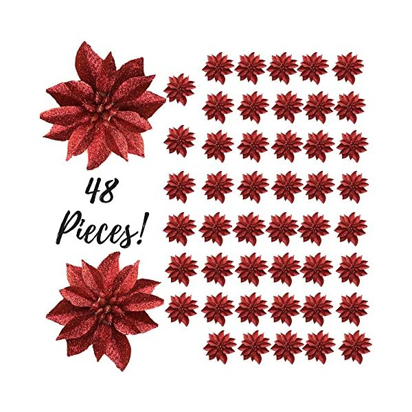 BANBERRY-DESIGNS-Artificial-Poinsettia-Flowers-Set-of-48-3–Red-Glittered-Poinsettia-Clip-On-Ornaments-Christmas-Decorations-Decorative-Floral-Accessories