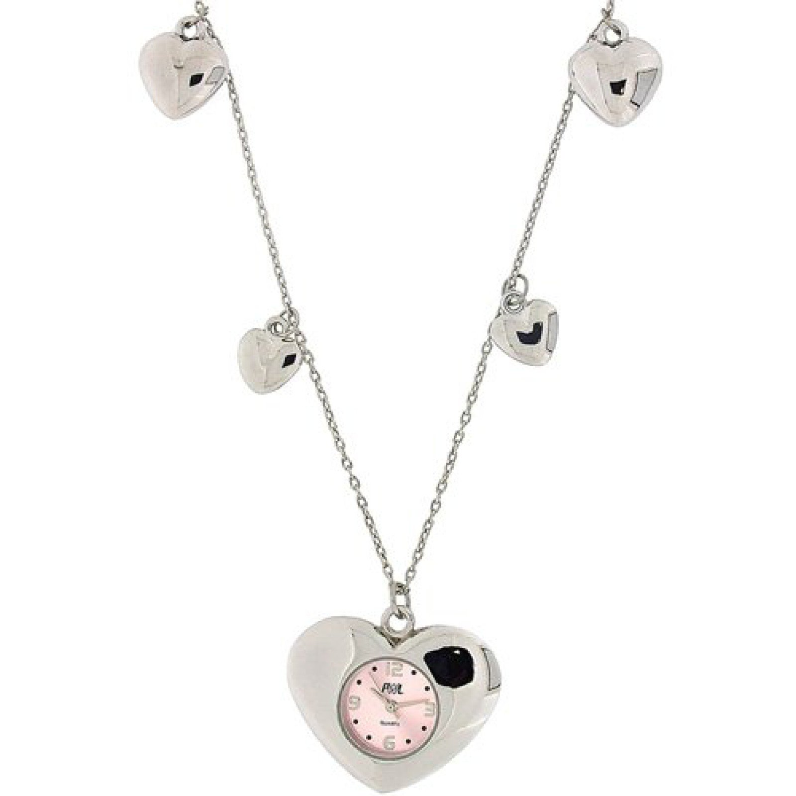 Pwl Ladies Pink Dial Silver Tone 30 Necklace Watch With Heart Charms