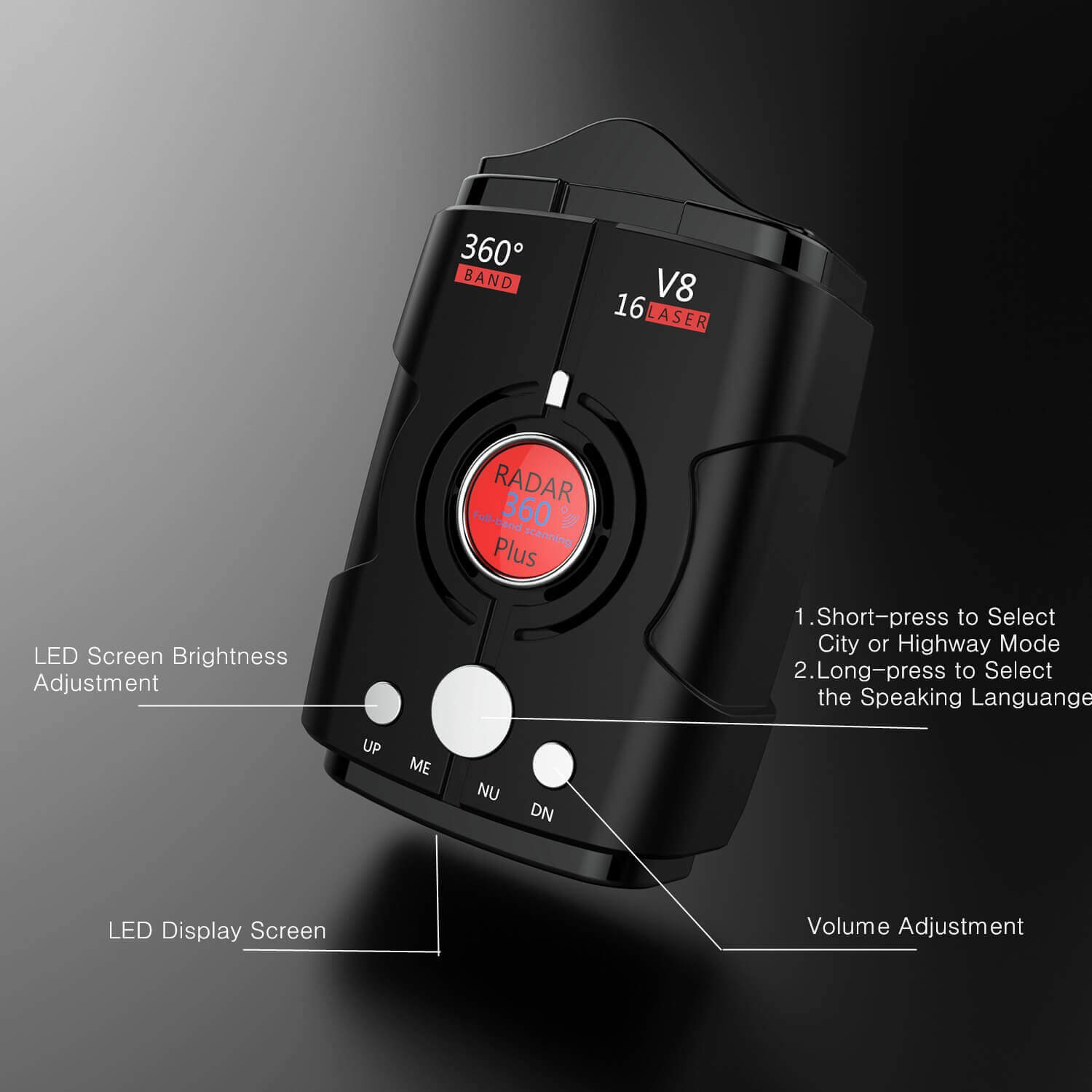 Radar Detectors for Cars, Voice Alert and Speed Alarm System with 360 Degree Detection, City/Highway Mode Radar Detector by AZGGN (Image #3)