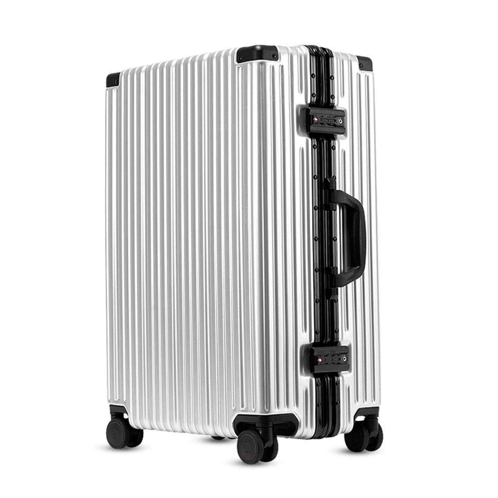 FRF トロリーケース- 学生レトロスーツケースロックボックス、ビジネスユニバーサルホイールスーツケース、男性と女性のためのスーツケーストロリーケース (色 : シルバー しるば゜, サイズ さいず : 21in) B07QMP9HST シルバー しるば゜ 21in