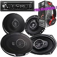 Package - Pair of Kenwood KFC- 6985PS 6x9 600W 4-way + Pair of Kenwood KFC-1695PS 320W 6-1/2 3-way Car Speakers + Kenwood KDC-BT21 Single-DIN Bluetooth CD Receiver + Free EBH700 Headphone