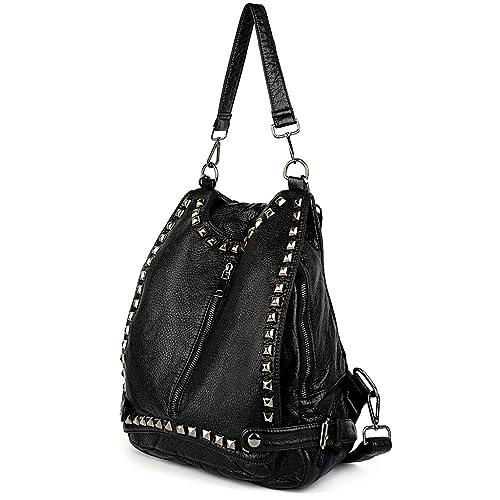 UTO Women Backpack Purse PU Washed Leather Rivet Studded Convertible Ladies Rucksack Shoulder Bag Bl...