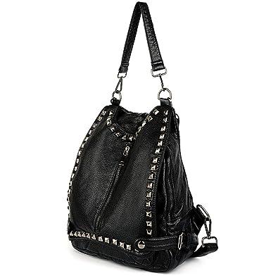 5fe05308d1043c Amazon.com: UTO Women Backpack Purse PU Washed Leather Rivet Studded  Convertible Ladies Rucksack Shoulder Bag Black: Shoes