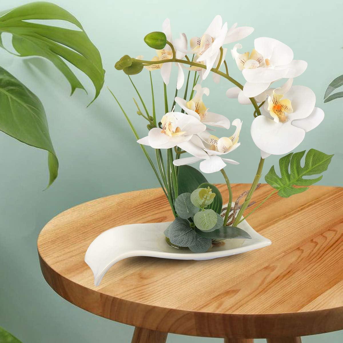 Yobansa D/écoratif Real Touch Faux Orchid/ée Bonsa/ï Fleurs Artificielles avec Imitation Porcelaine Pots De Fleurs Phalaenopsis Fleurs Arrangements pour La D/écoration De La Maison White