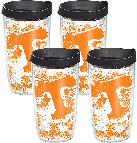 (Tervis 1140201 Tennessee Volunteers Splatter Tumbler with Wrap and Black Lid 4 Pack 16oz, Clear)