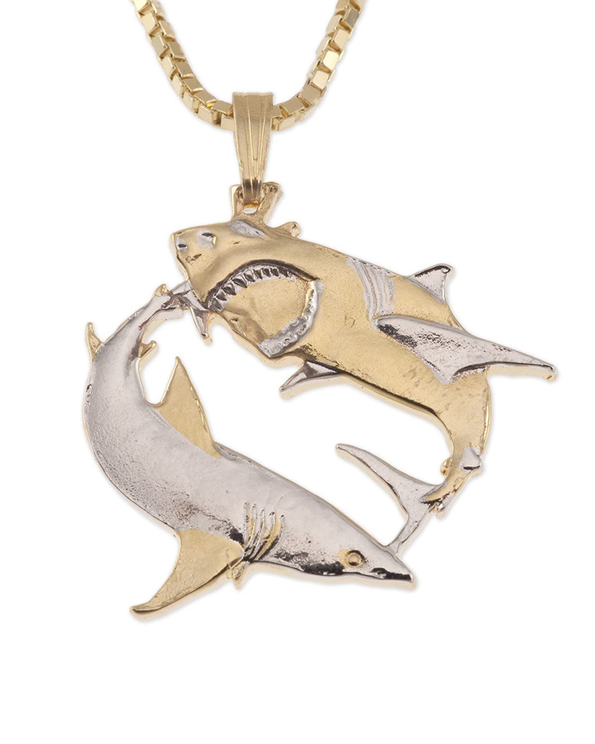 Great White Shark Pendant & Necklacem Australian Coin Hand Cut