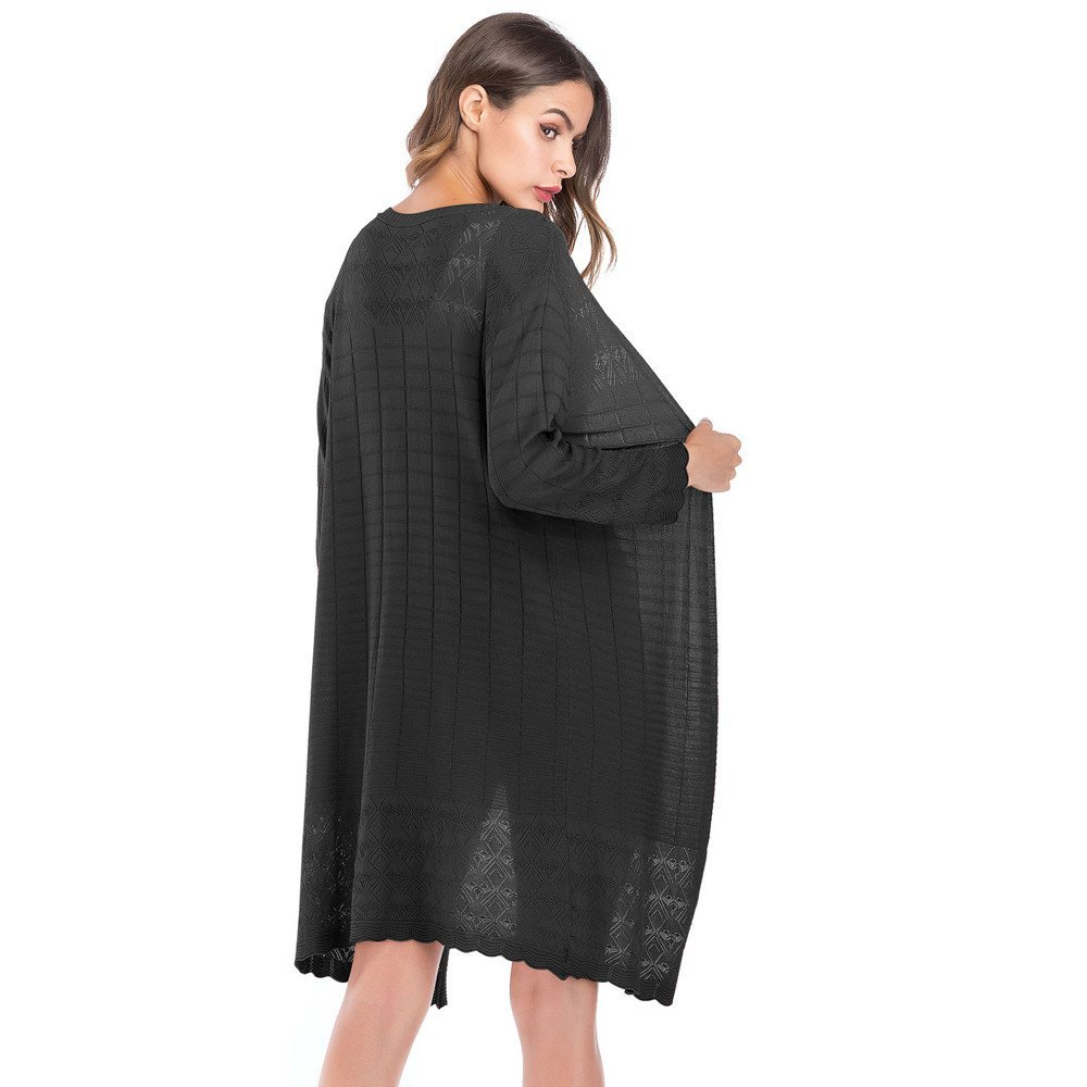 HHei_K Womens Casual Loose Hollow Patchwork Solid Knit Tassel Long Sleeve Cardigan Coat Outwear by HHei_K (Image #3)