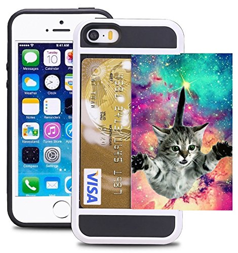 iPhone 5/5S/SE Credit Card ID Holder Wallet Case Cover Dual Slim Shock-Resistant Hybrid Armor Case -Holds 2 Cards & Cash By Corpcase. Designer ID / CARD Slider Pattern Hipster Flying Cat Space Galaxy