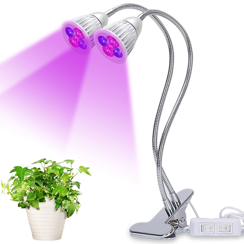 Dual Head LED Plant Grow Light,10W Clip Desk Grow Lamp with 360 Degree Flexible Gooseneck and Control Switches/Stand for Office Home Indoor Outdoor Garden Greenhouse (10W)