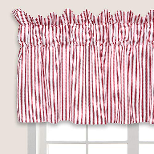 Cackleberry Home Red and White Ticking Stripe Valance Curtain Woven Cotton Lined 54 Inches W x 17 Inches L (Red Curtain Window Stripe)