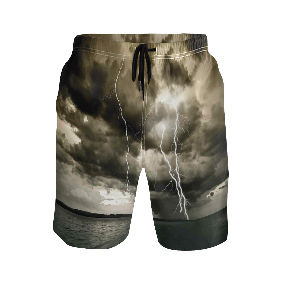 COVASA Mens Summer ShortsMajestic Rain Cloud with Thunderstorm All Over The Oc