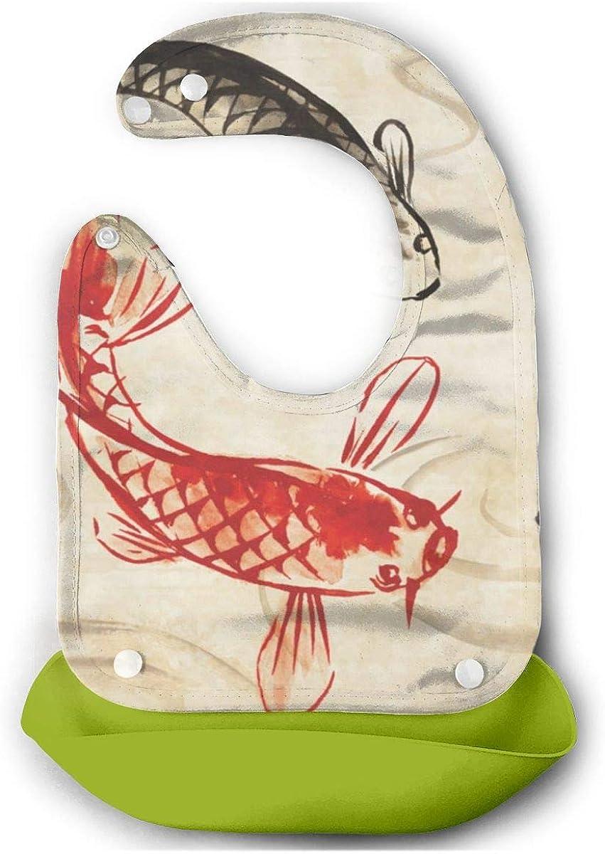 Silicone Skin Wrap Koi Fish Japanese Vintage Bib Comfortable Soft Waterproof Mouth Towel 6-24 Months