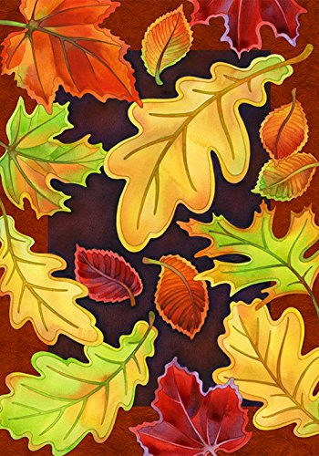 Toland Home Garden Leafy Leaves 12.5 x 18 Inch Decorative Fall Autumn Tree Leaf Collage Garden Flag ()