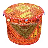 Stylo Culture Decorative Bohemian Patchwork Pouf Cover Round Embroidered Mirror Patchwork Pouffe Ottoman Cover Multicolored Cotton Traditional Furniture Footstool Seat Puff Cover (18x18x13)